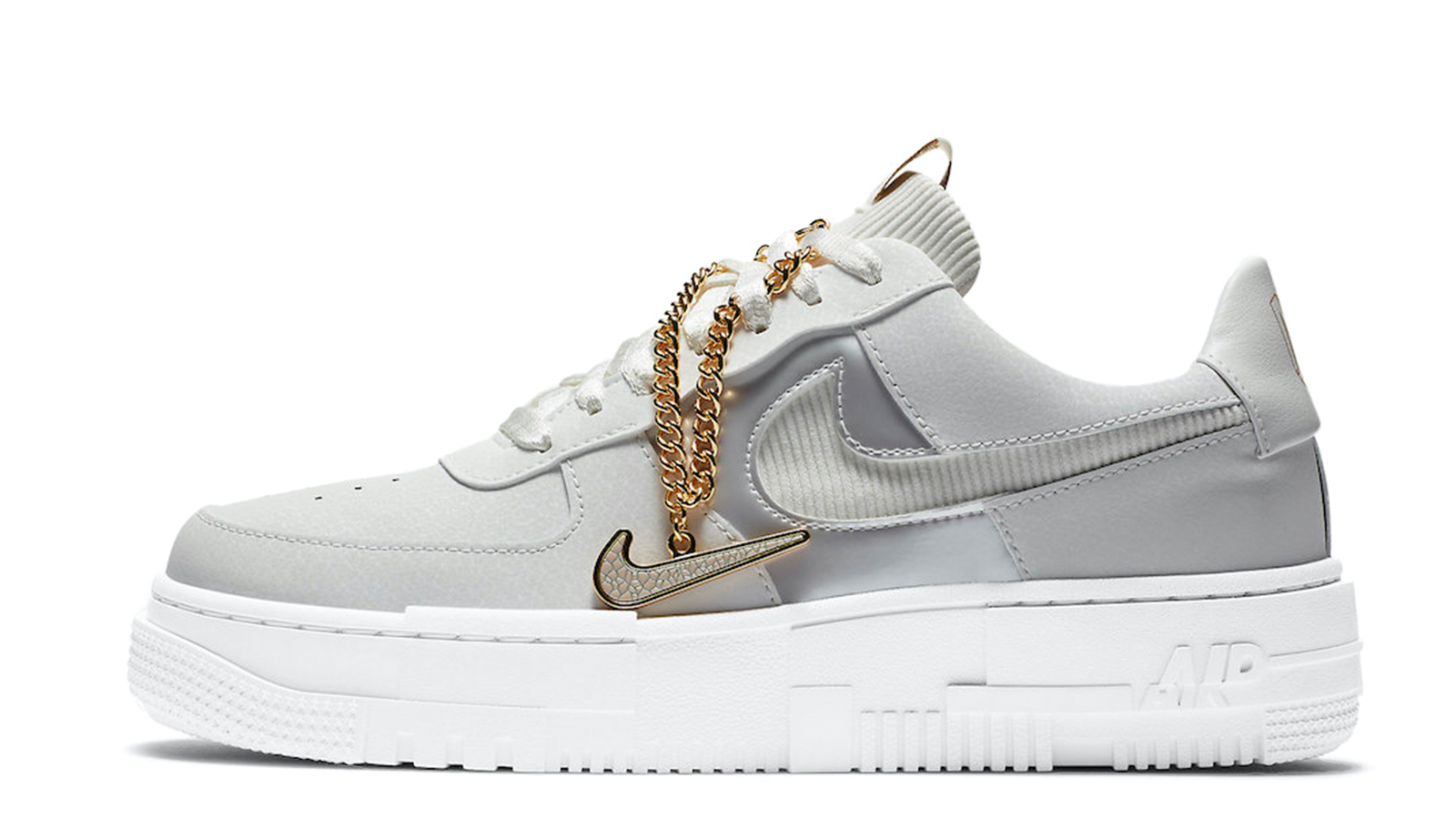 Nike Air Force 1 Pixel Grey Gold Chain DC1160-100